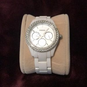 White diamond fossil watch